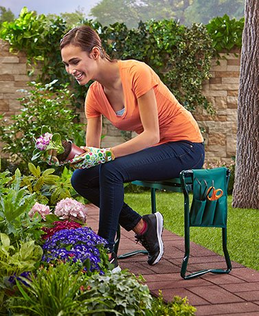 Garden Kneeling Bench With Handles and Tool Pouch by SHERRI'S HOME AND GARDEN (Image #3)