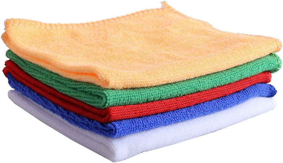 Fast Water Absorption 12inch/×12inch Towels No Damage to The Surface(Blue White Reuse Green Red 5-Colors 50-Pack Microfiber Cleaning Cloth Orange)