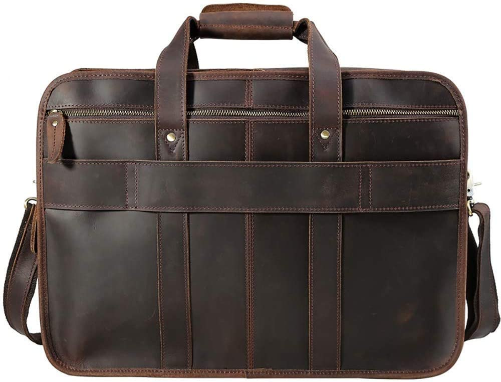Color : Dark Brown 33x45x15cm Byrhgood Business Briefcase First Layer Leather Mens Bag Crazy Horse Leather 17 Inch Laptop Bag Brown//Dark Brown