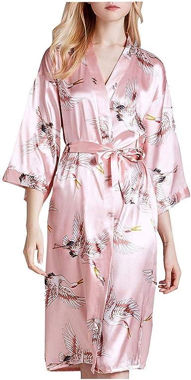 Kimono Pijama Mujer Seda Vestido de Satén Lencería con Cordón ...