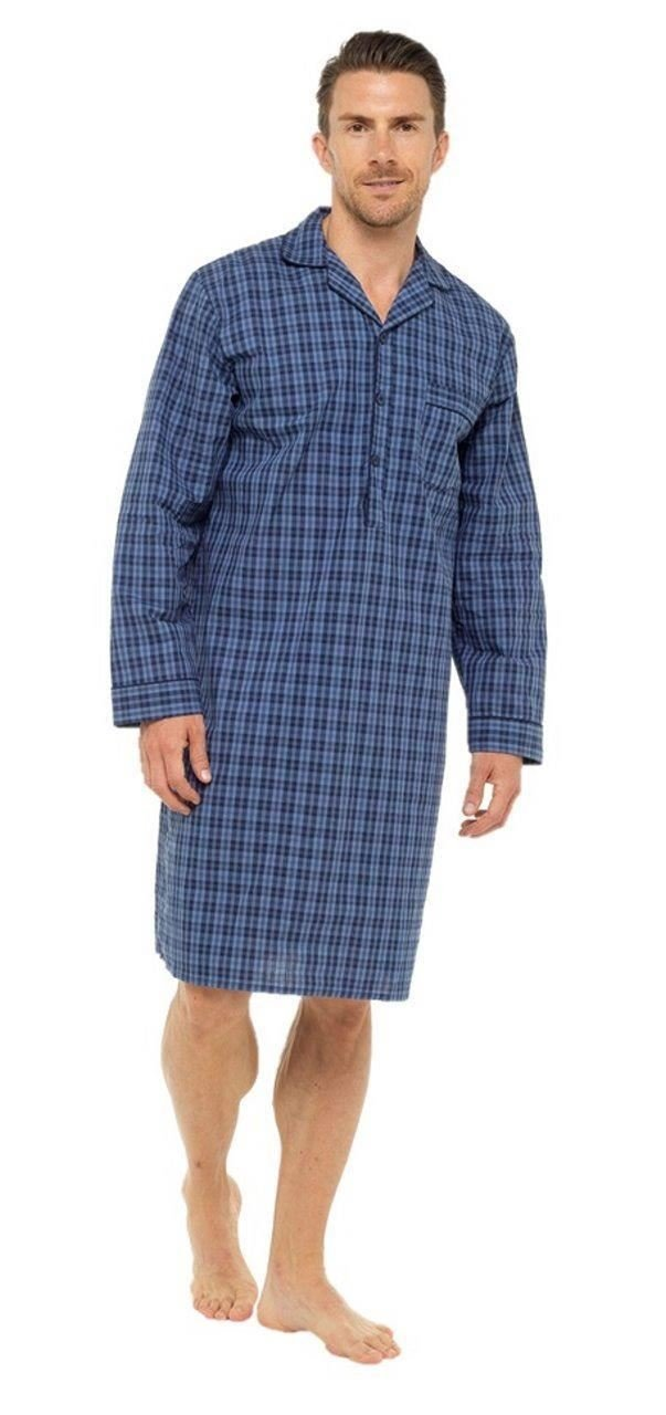 Sleepy Joes Nightwear Mens Lightweight Poplin 100% Cotton 1952 Nightshirt Blue/Navy Check L