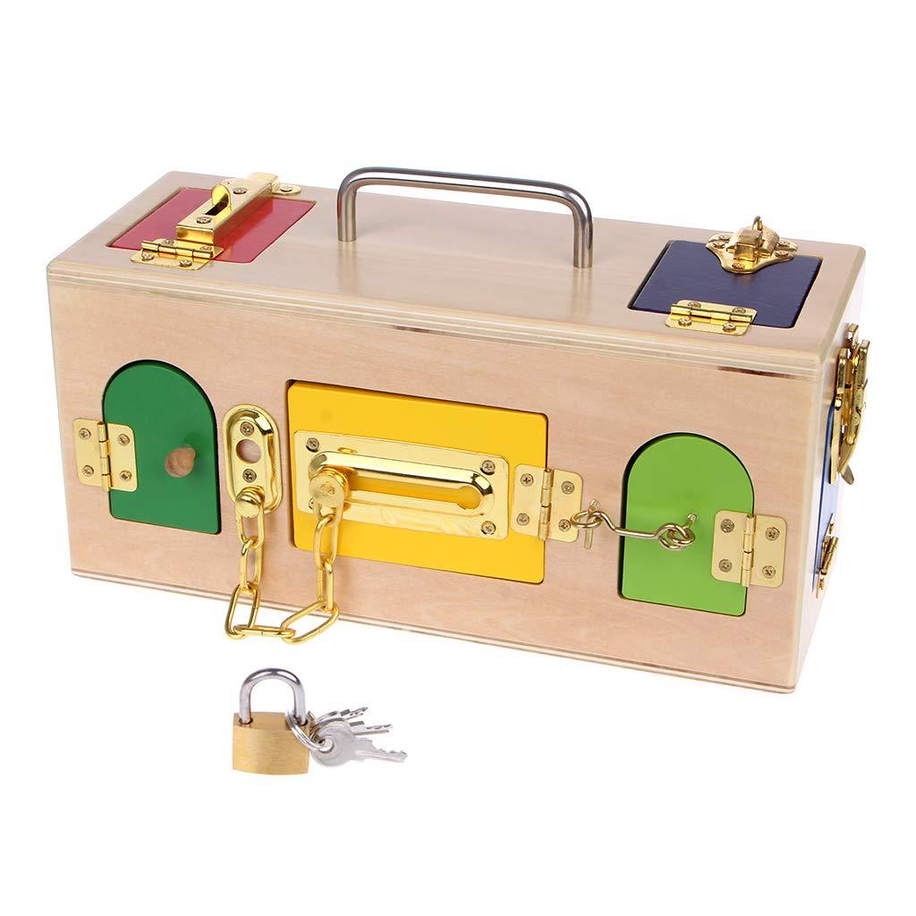Zobeen Montessori Colorful Lock Box Kids Children Educational Preschool Training Toys