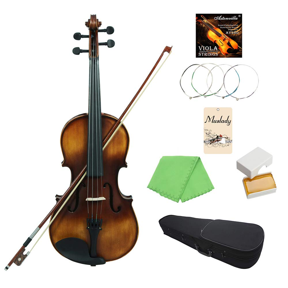 Festnight Viola 4/4, Retro Spruce Violin Set with Carry Case Strings Bow Cleaning Cloth