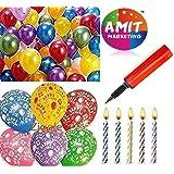 Amit Marketing metallic hd large balloons +happy birthday print balloons + candels + air pump (pack of 76)