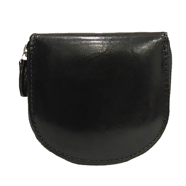 Portamonete Zip Portaspiccioli Tascabile Mini Paul.hide Uomo Donna Pelle Cuoio Nero 8, 5 x 8 x 1, 5 cm PMONZIPN4098