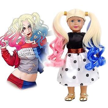 Amazon Com Stfantasy American Girl Doll Wigs Harley Quinn Costume