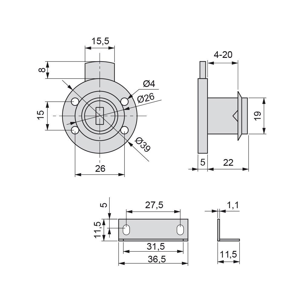 Emuca 1275111 Cerradura de cilindro con 2 llaves y placa de bloqueo para mueble o caj/ón