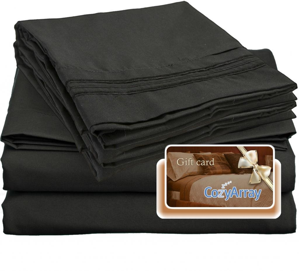 Amazon.com: Clara Clark ® Premier 1800 Collection Bed Sheet Set, Includes a  Free $5 Cozy Array Gift Card, Queen Size, Black: Home & Kitchen