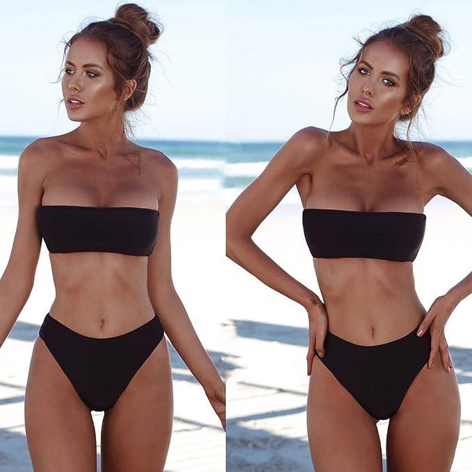 Conjunto de Bikini para Mujer, Parte de Arriba Bikini Push Up Básico + Tanga Bikini Playa de Hojas de Impresión Mujer, 2 PCS Traje de Baño 2019 Verano Sexy: ...