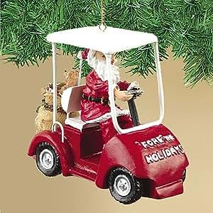 Santa Driving a Golf Cart Christmas Ornament, Fore the Holidays