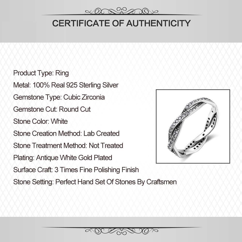 UMDOE 925 Sterling Silver Eternity Ring Cubic Zirconia 4mm Braided Ring Wedding Band for Women Size 6-8