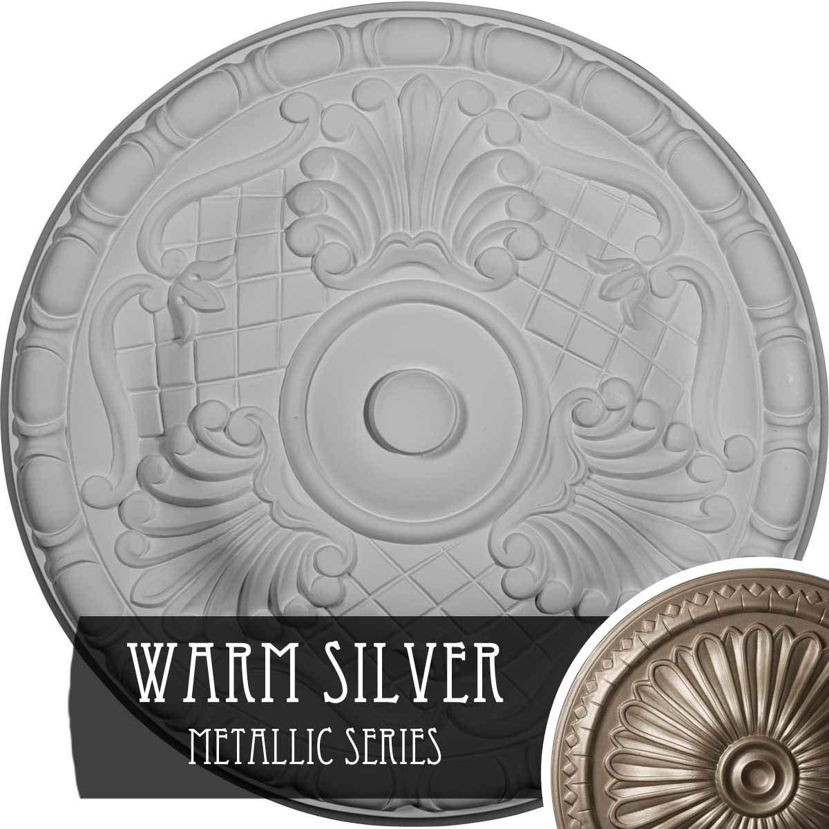 Ekena Millwork CM16AMWSS Amelia Ceiling Medallion, Warm Silver