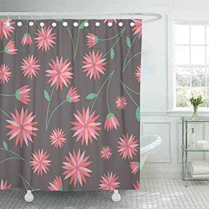 Emvency Shower Curtain Large Orange Flowers With Leaves On Earthy Brown Great For Fabrics Childrens Textiles