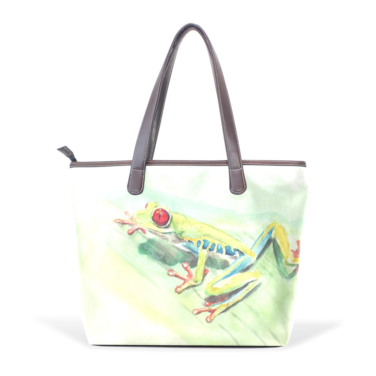 SCDS Painted Green Frogs PU Leather Lady Handbag Tote Bag Zipper Shoulder Bag