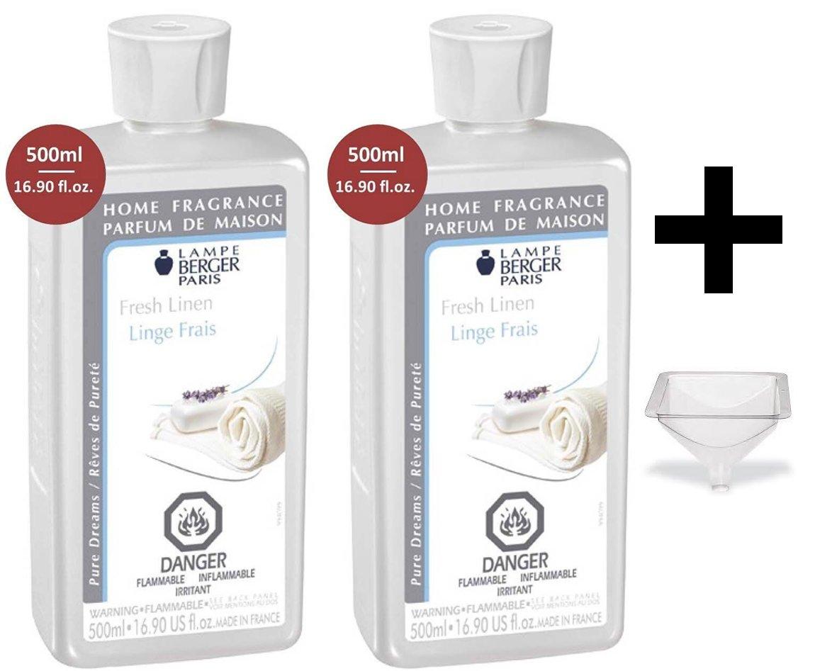 Lampe Berger Fragrance - Fresh Linen - 500ml/16.9 fl.oz. 2 Pack with FREE Funnel