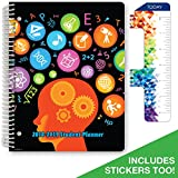 "Dated Middle School or High School Student Planner for Academic Year 2018-2019 (Matrix Style - 8.5""x11"" - Subjects Cover) - Bonus RULER / BOOKMARK and PLANNING STICKERS"