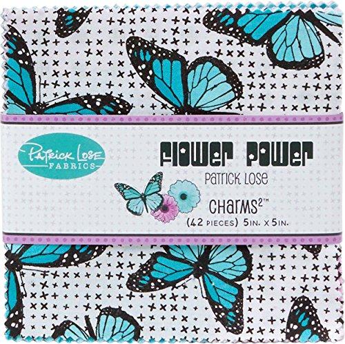 Flower Power Aqua Charms 42 5-inch Squares Charm Pack Patrick Lose Fabrics Flower Power Charm