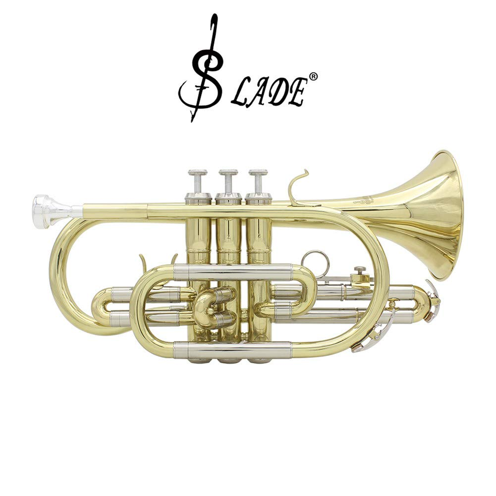 RONSHIN Slade Professional Bb Cornet Brass Instrument with Carrying Case Gloves Cleaning Cloth Brushes by RONSHIN