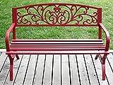 Merax Outdoor Bench Garden Park Bench Chair Cast Iron(Red)