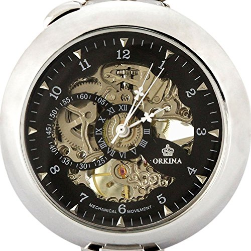 Carrie Hughes Vintage Open face Steampunk Skeleton Mechanical Pocket Watch with Chain CH79 by Carrie Hughes (Image #2)
