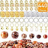 Blulu 440 Pieces Hair Dreadlocks Beads Accessories, Including Metal Hair Braiding Cuffs Hair Clips Hair Coils Hair Hoops and Wood Beads for DIY Hair Decoration