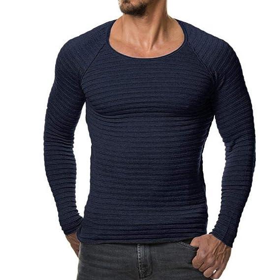 Hombre de otoño Invierno Casual con Cuello en V Hombres suéteres Slim Tops Blusa de Internet