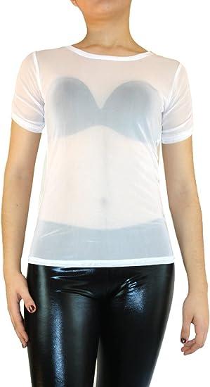 Blusa de tul, transparente, manga larga, talla S/M/L Weiß 38: Amazon.es: Ropa y accesorios