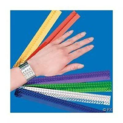 Metallic Slap Bracelets (12 pack) Bright assorted colors for party favors, giveaways and more: Clothing