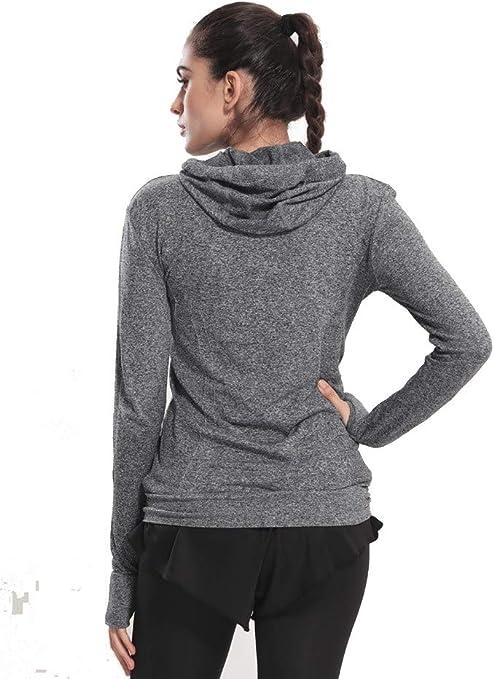 Selighting Giacca Sportiva con Zip per Donne Felpa Vestito Sportivo con Fori per Le Dita per Yoga Fitness Running Escursionismo Montagna Viaggio