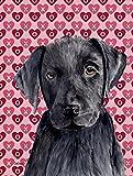 Caroline's Treasures SC9275CHF Labrador Black Hearts Love Valentine's Day Flag Canvas, Large, Multicolor For Sale