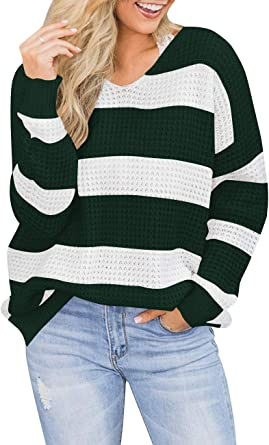 Womens Striped Scoop Neck Pullover Sweater Long Sleeve Color