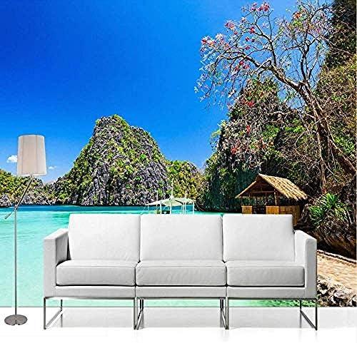 3D写真の壁紙海辺のビーチの風景写真の背景の壁の装飾リビングルームの壁画の壁紙-280X200Cm