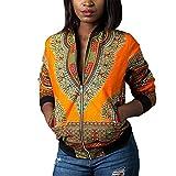 #8: Luluka Women's Long Sleeve Print Dashiki Ethnic Style Africa Baseball Jacket