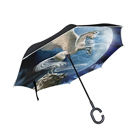 My Daily Double Layer Inverted Umbrella Cars Reverse Umbrella Flying Unicorn With Moon Clouds Windproof UV