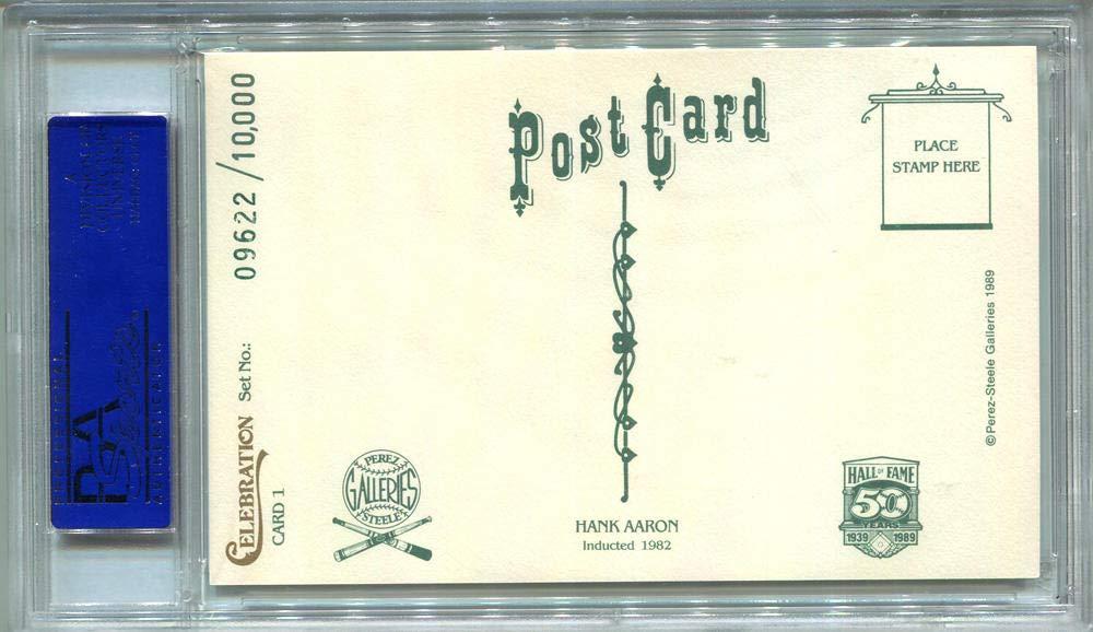 1989 Hank Aaron Signed Perez Steele Postcard #1. PSA Authentic