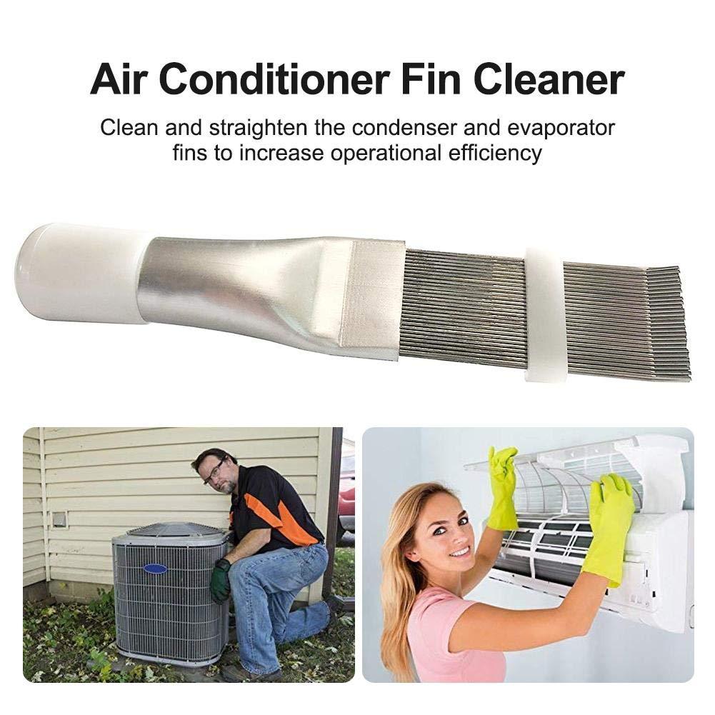 Allowevt Aire Acondicionado Cepillo Limpiador de Aletas Aire Acondicionado Peine de Aletas Radiador Peine de Aletas Cepillo de Limpieza de Acero Inoxidable Chic