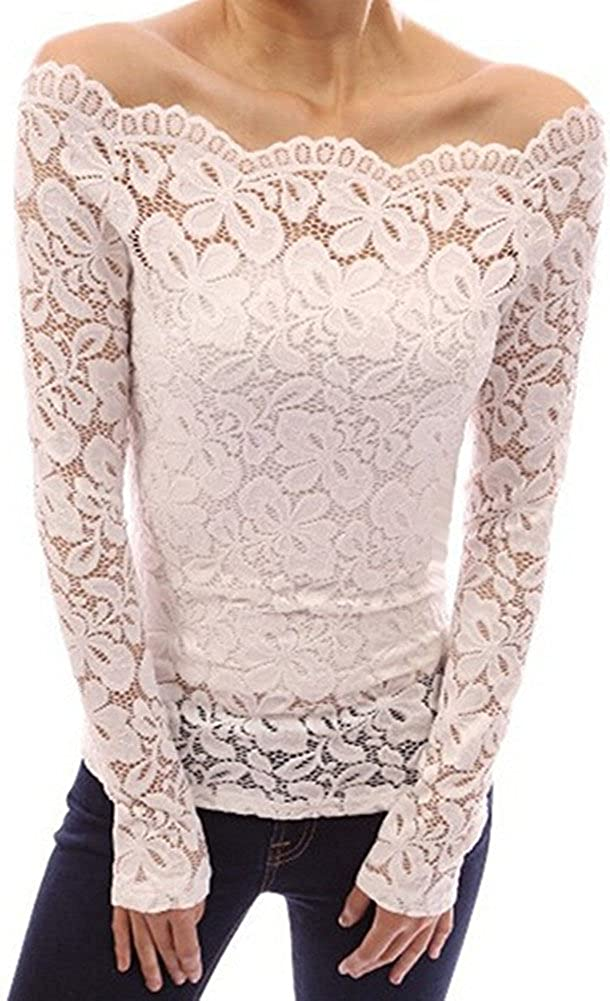 Minetom Mujer Camisa Blusa Manga Larga de Encaje Camiseta Moda Floral Crochet Elegante Tops Off Shoulder Lace Shirt Blanco ES 36: Amazon.es: Ropa y accesorios