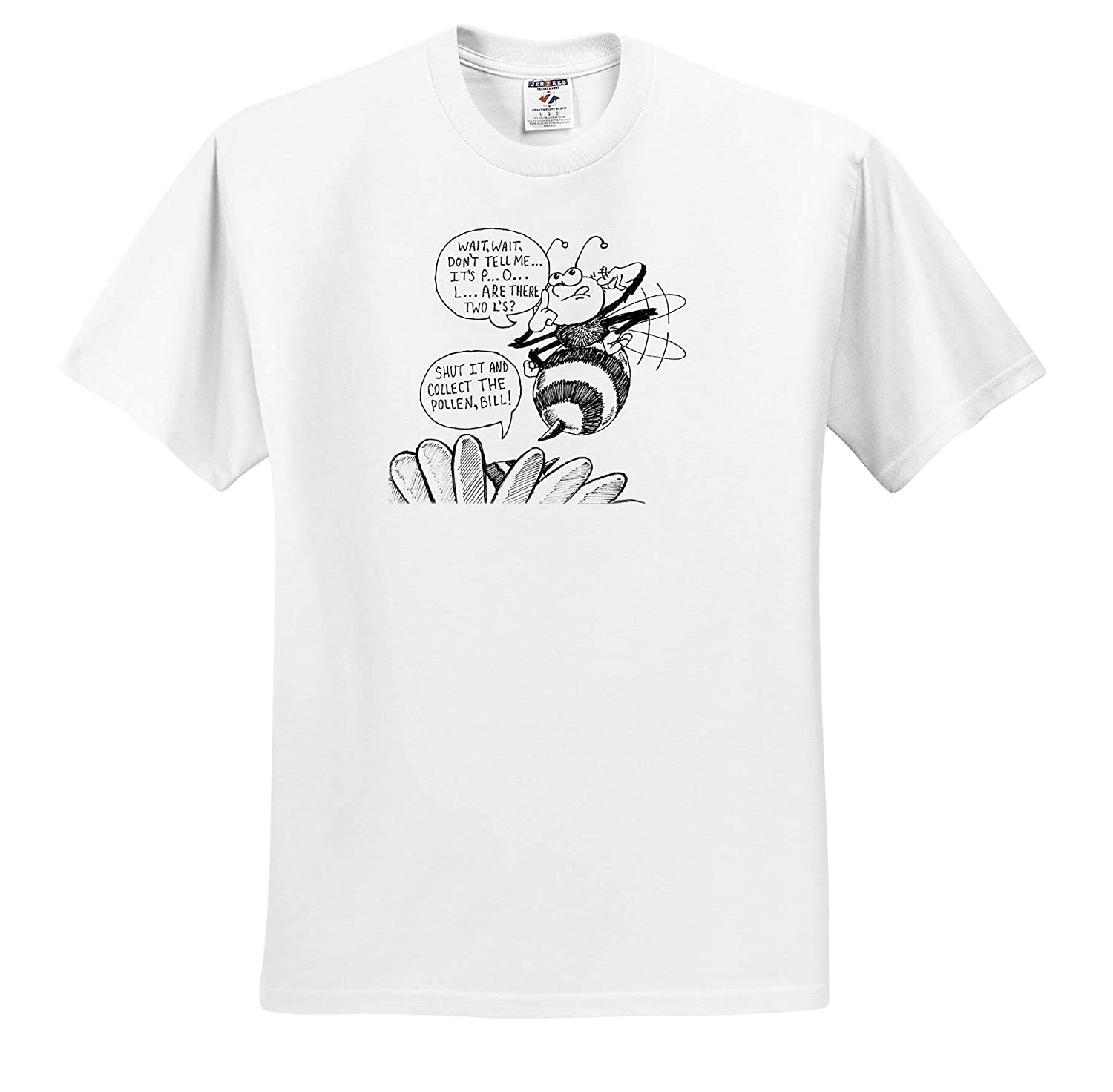 Art ts/_317524 3dRose Travis ECK Adult T-Shirt XL The Spelling Bee Tries to Spell