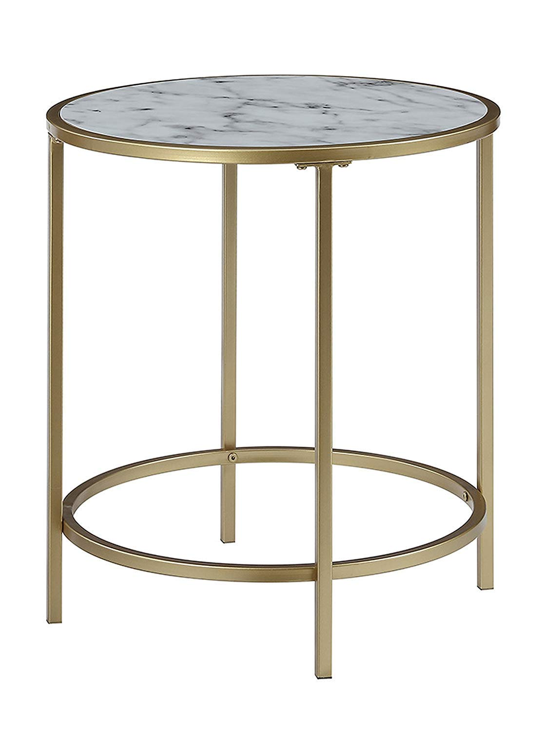 Convenience Concepts Gold Coast Deluxe Faux Marble Round End Table, White Faux Marble / Gold Frame