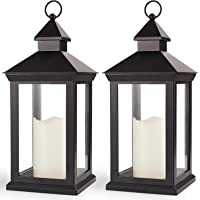 Bright Zeal 2-Pack 14″ Decorative Candle Lantern Black Outdoor Lanterns with Timer Candles - IP44 Waterproof Vintage Lanterns Battery Powered LED Decorative for Wedding - Hanging Wall Lanterns Indoor