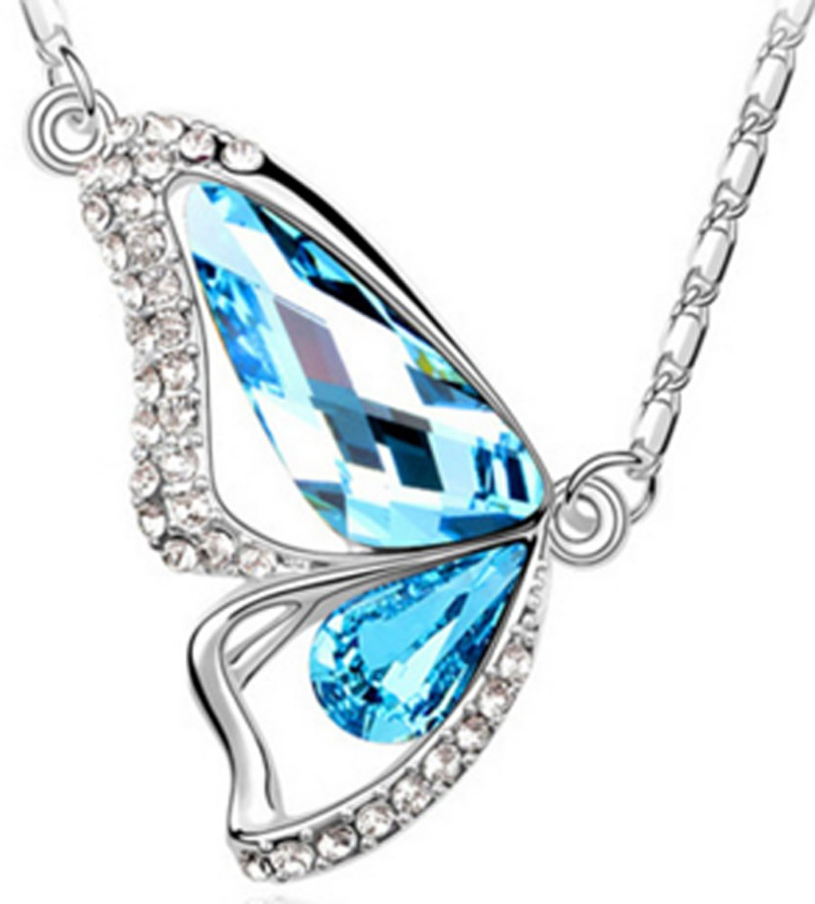 SaySure - Platinum Plated Blue Butterfly Pendant Necklace with AAA Zircon