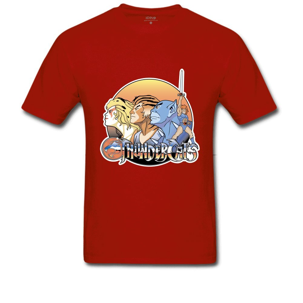 Cotton Printed Round Neck Men's Thundercats Short Sleeve T-shirt Casual Crop Top-azvn
