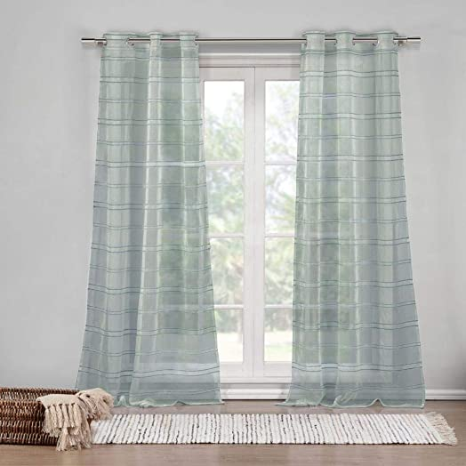 DUCK RIVER TEXTILES – Striped Sheer Grommet Window Curtain 2 Panel Drape Hampstead, 40 X 84 Inch, Grey