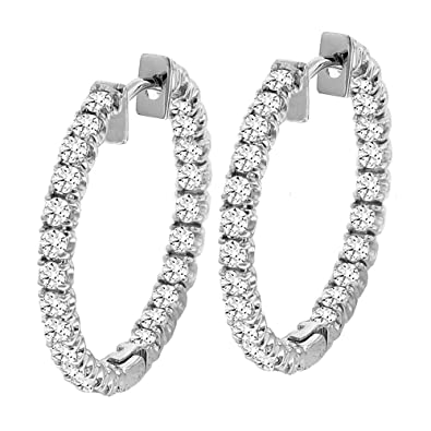 Amazon.com: 2.50 CT TW Inside/Outside Round Diamond Hoops in 14k ...