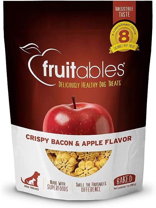 Fruitables Crunchy Baked Bacon Apple Training Treat for Dogs 7 Ounces