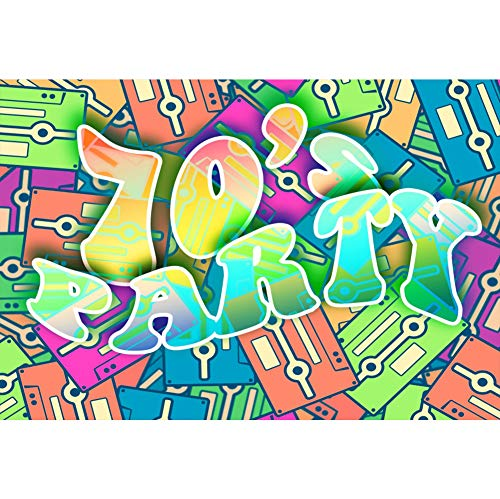 (Baocicco 7x5ft Back to 70s Backdrop 70s Party Backdrop for Photography Retro Tapes Background Vintage Music Party Disco Party Children Adults Artistic Portrait Studio Video)