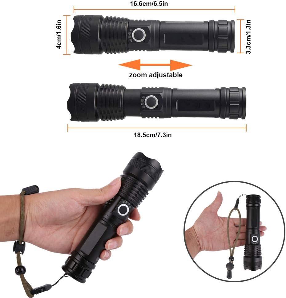 USB Wiederaufladbare Taschenlampen Schwarz1 Inklusive 18650 Batterie LED Taschenlampe Extrem Hell LED Taschenlampe Es gibt f/ünf Modi zum Einstellen der Helligkeit Outdoor Camping Wandern