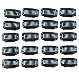 Golden Rule 20pcs Hair Extension Clips Black 9 Teeth Snap-Comb Wig Clips