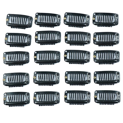 Price comparison product image Fani 20Pcs Clips 9-Teeth Snap-Comb Wig Clips with Rubber for Hair Extension Wigs Weft Hairpiece DIY Clips (Black)
