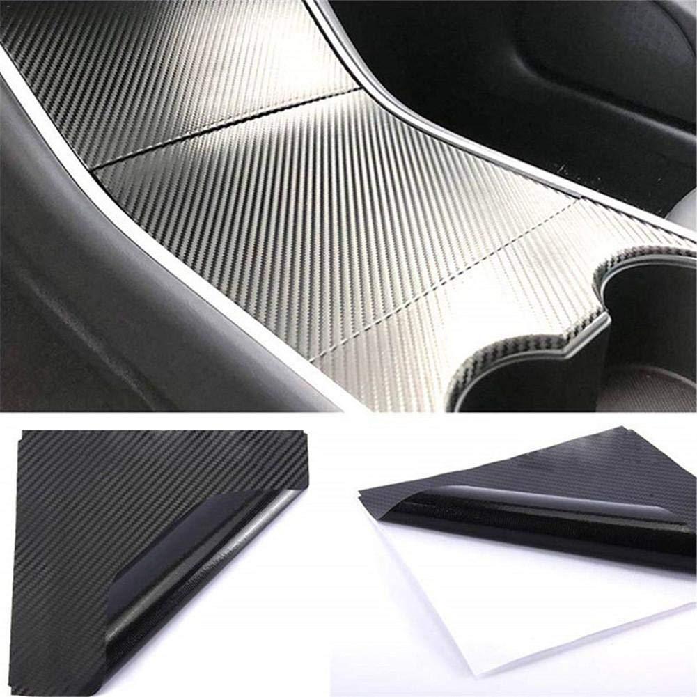 Black and Carbon Fiber Center Console Film Center Console PVC Wrap for Tesla Model 3
